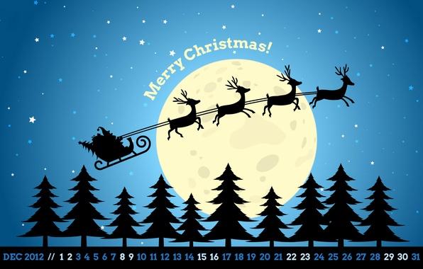 Picture stars, night, the moon, tree, new year, Christmas, new year, sleigh, deer, Santa, calendar, December, …