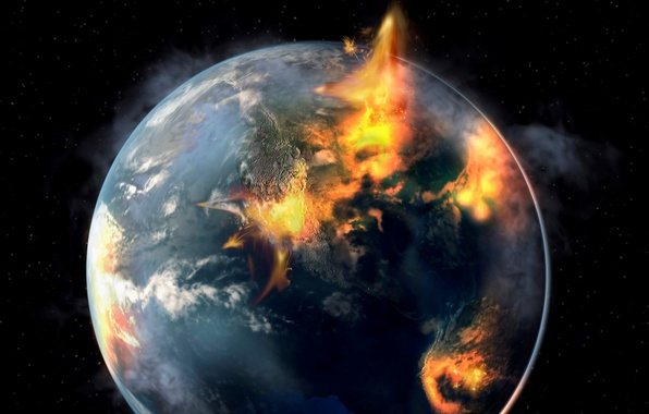 Picture fire, planet, destruction, sci fi