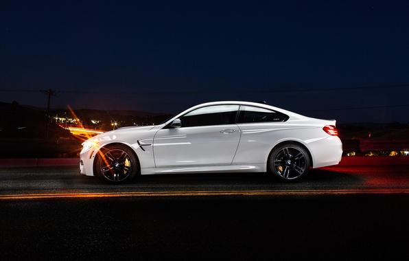 Picture white, night, BMW, BMW, profile, white, Coupe, F82, profile