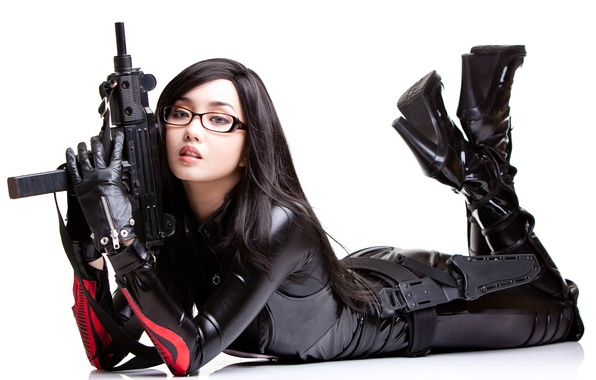 Picture weapons, Girl, glasses, Asian
