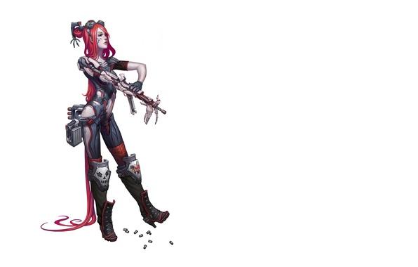 Wallpaper cyborg, cyberpunk, postapokalipsis, girl cyborg, hand gun, implants