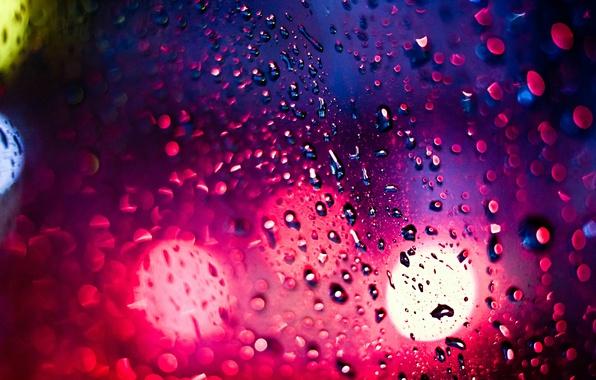 Picture light, night, glare, rain, The city, bokeh