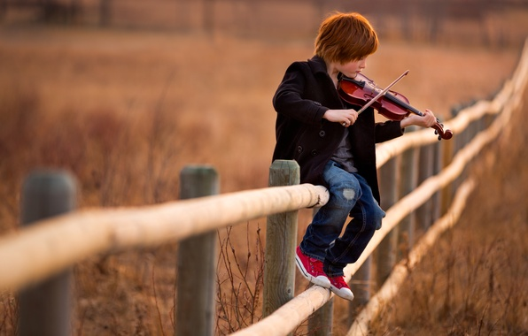Picture music, violin, the fence, boy