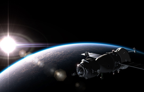 Picture dark, light, spaceship, planet