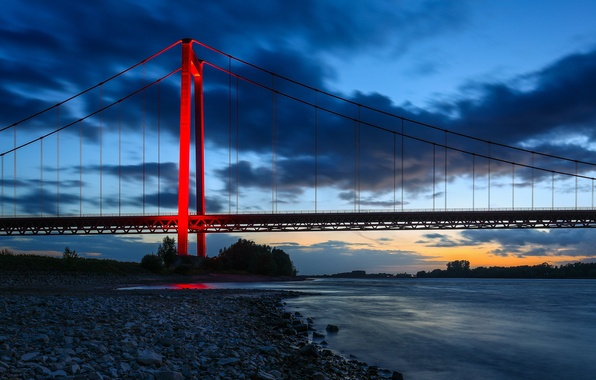 Picture bridge, river, Germany, Germany, the Rhine river, North Rhine-Westphalia, North Rhine-Westphalia, Amerisci bridge, Rhine River, ...