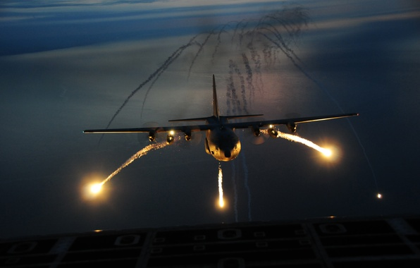 Picture night, the plane, the airfield, the rise, flash, Hercules, C-130