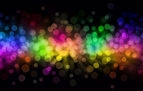 Picture purple, circles, red, abstraction, lights, green, background, pink, black, bright, colored, small, a lot