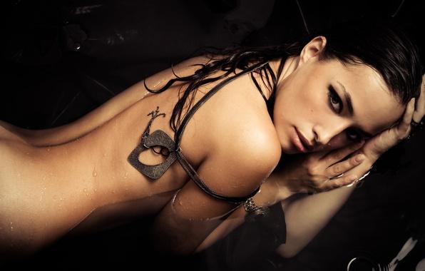 Picture look, water, girl, drops, back, hands, brunette, chain, pendants