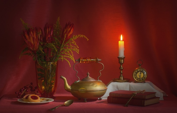 Picture red, watch, books, candle, bouquet, kettle, cake, still life, keys