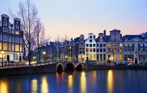 Picture lights, river, home, Netherlands
