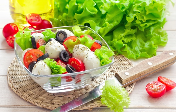 Picture oil, cheese, knife, dishes, tomatoes, salad, olives, appetizer, Basil, Caprese, mozzarella, caprese