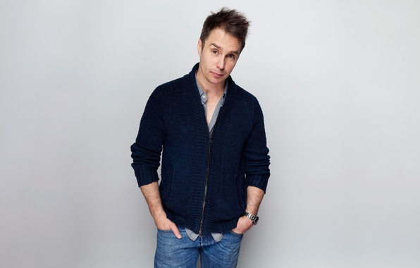 Picture background, jeans, actor, photoshoot, jumper, Sam Rockwell, Sam Rockwell, Victoria Will