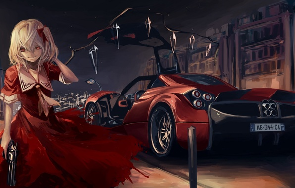 Picture machine, girl, the city, gun, wings, art, crystals, red dress, touhou, flandre scarlet, terabyte, rook777