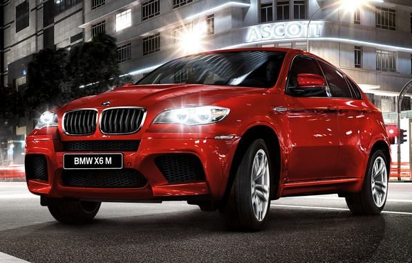 Picture night, red, bmw, speed, jeep, bmw x6, икс6