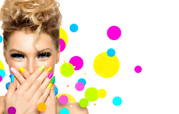 Picture girl, eyelashes, style, background, hair, hands, makeup, blonde, manicure