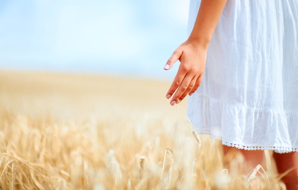 Picture the sky, girl, nature, background, white, mood, plant, rye, hand, blur, dress, girl, fingers, widescreen, …