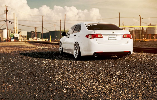 Picture tuning, rails, the evening, railroad, drives, gravel, Acura, Acura TL