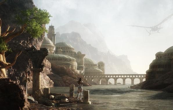 Picture girl, landscape, bridge, the city, river, rocks, arch, render, aircraft
