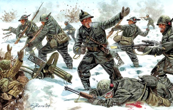 Picture winter, snow, weapons, attack, figure, battle, art, soldiers, uniforms, 1939-1940, The Soviet-Finnish war