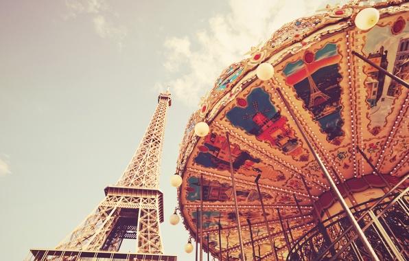 Picture clouds, France, Paris, Eiffel tower, carousel