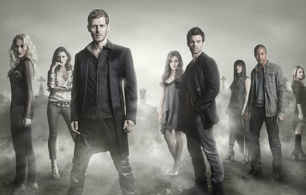 Picture The Vampire Diaries, fog, actors, cemetery, Joseph Morgan, Phoebe Tonkin, cast, actresses, Daniel Gillies, Claire ...