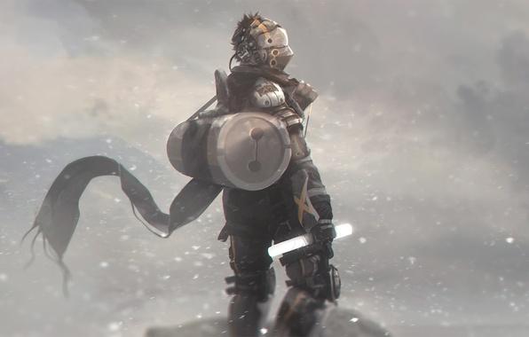 Picture winter, snow, fiction, the wind, people, art, costume, helmet, mercenary