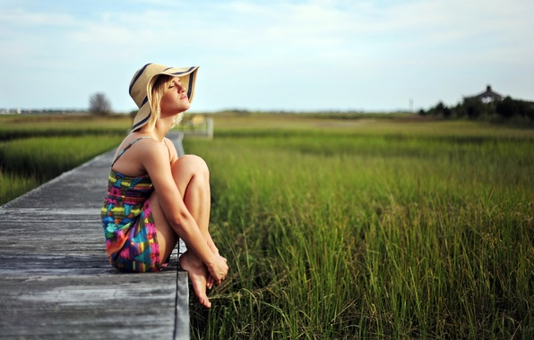 Picture field, summer, girl, hat