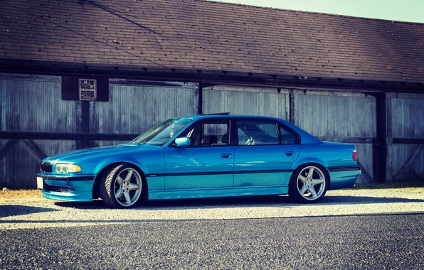 Picture tuning, BMW, side, blue, stance, bmw e38, 750il