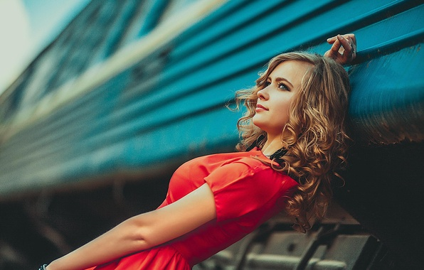 Picture in red, composition, toning, the girl Tanya