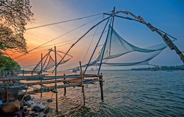 Picture sea, beach, sunset, the ocean, shore, sea, ocean, sunset, India, fishing nets, Kochi, fising nets