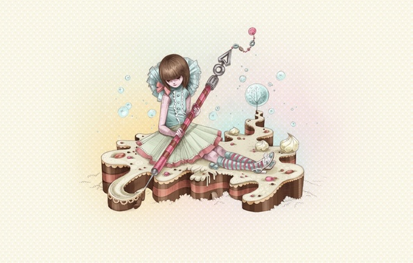 Picture figure, Girl, cake