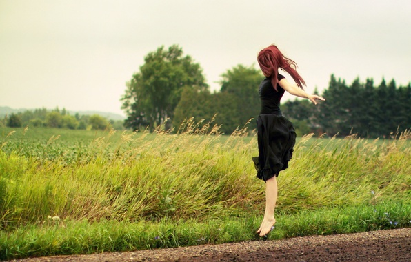 Picture ROAD, GIRL, NATURE, GRASS, GREENS, JUMP, DRESS, BLACK