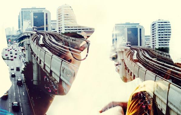 Photo wallpaper men, cityscape, double exposure