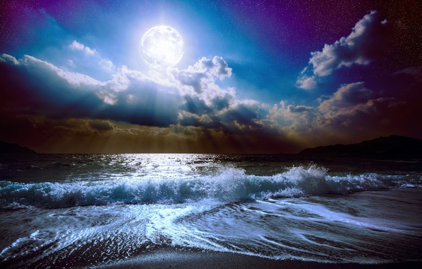 Picture sea, wave, the sky, clouds, landscape, night, nature, the ocean, The moon, waves, moon, moonlight, ...