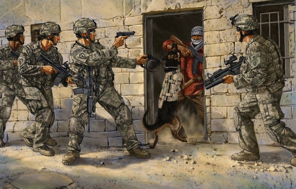 Picture weapons, figure, dog, art, soldiers, capture, action, equipment, operation, special forces
