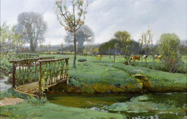 Picture the sky, grass, clouds, landscape, river, stream, picture, cows, meadow, the bridge, Samuel Birch, Landscape …