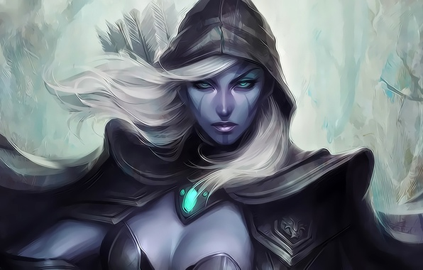 Picture look, girl, art, blonde, hood, cloak, arrows, Artgerm, Traxex, Dota 2, Drow Ranger