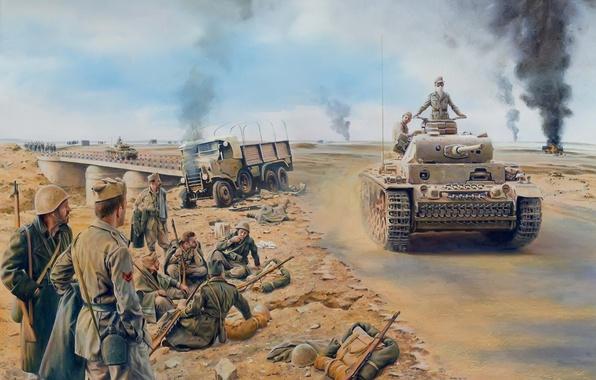 Picture war, figure, soldiers, Africa, German, medium tank, Pz.Kpfw. III