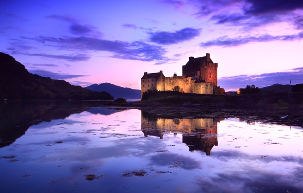 Picture the sky, water, clouds, bridge, pond, reflection, castle, lilac, the evening, Scotland, backlight, UK, fortress, …