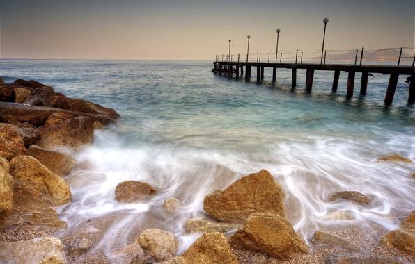Picture sea, summer, landscape, bridge
