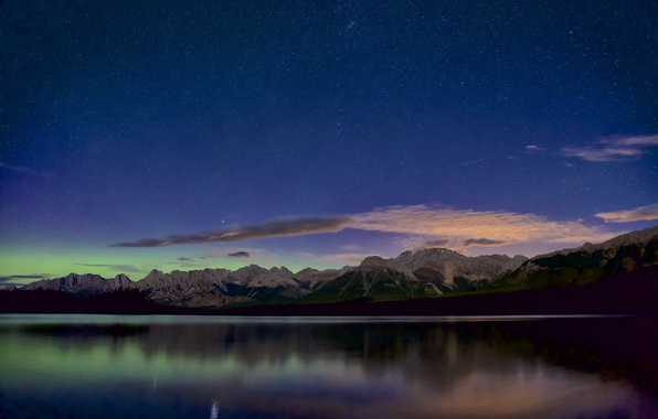 Picture the sky, stars, landscape, mountains, panorama, pond