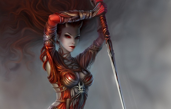 Picture girl, weapons, art, horns, spear, red eyes, demoness