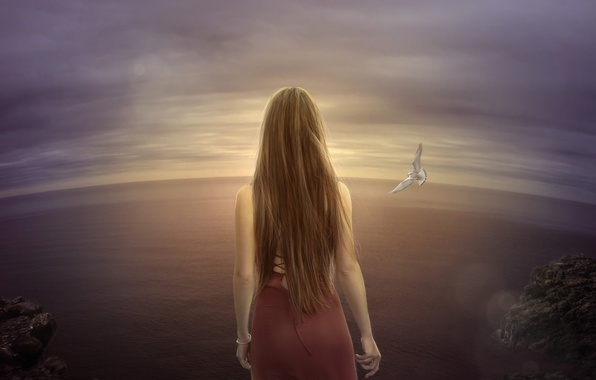 Picture sea, loneliness, the wind, bird, Seagull, art, space, brown hair, long-haired, drawn girl
