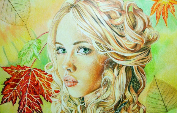 Picture autumn, look, leaves, girl, face, blonde, lips, painting, curls, green eyes, Christina Papagianni