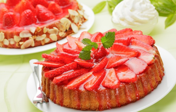 Picture berries, strawberry, pie, red, cream, dessert, cakes, sweet