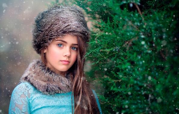 Picture snow, girl, fur, Gentle Snow