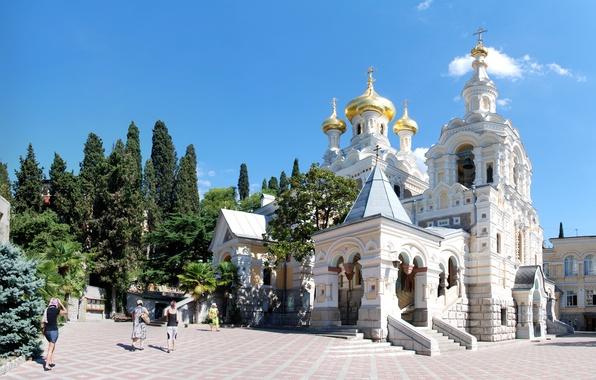 Picture the sun, trees, palm trees, area, Church, temple, Crimea, dome, Yalta