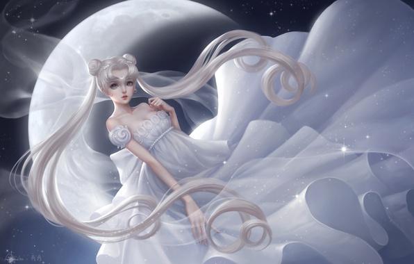 Picture girl, the moon, dress, princess serenity, tsukino usagi, Bishoujo senshi sailor moon, beauty warrior sailor …