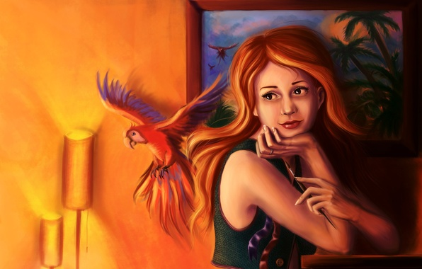 Picture look, girl, light, room, picture, art, parrot, red