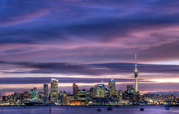 Picture the sky, city, the city, lights, skyscrapers, New Zealand, twilight, sky, Auckland, New Zealand, Auckland, …